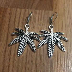 Cannabis Earrings with Sterling Silver Lever back